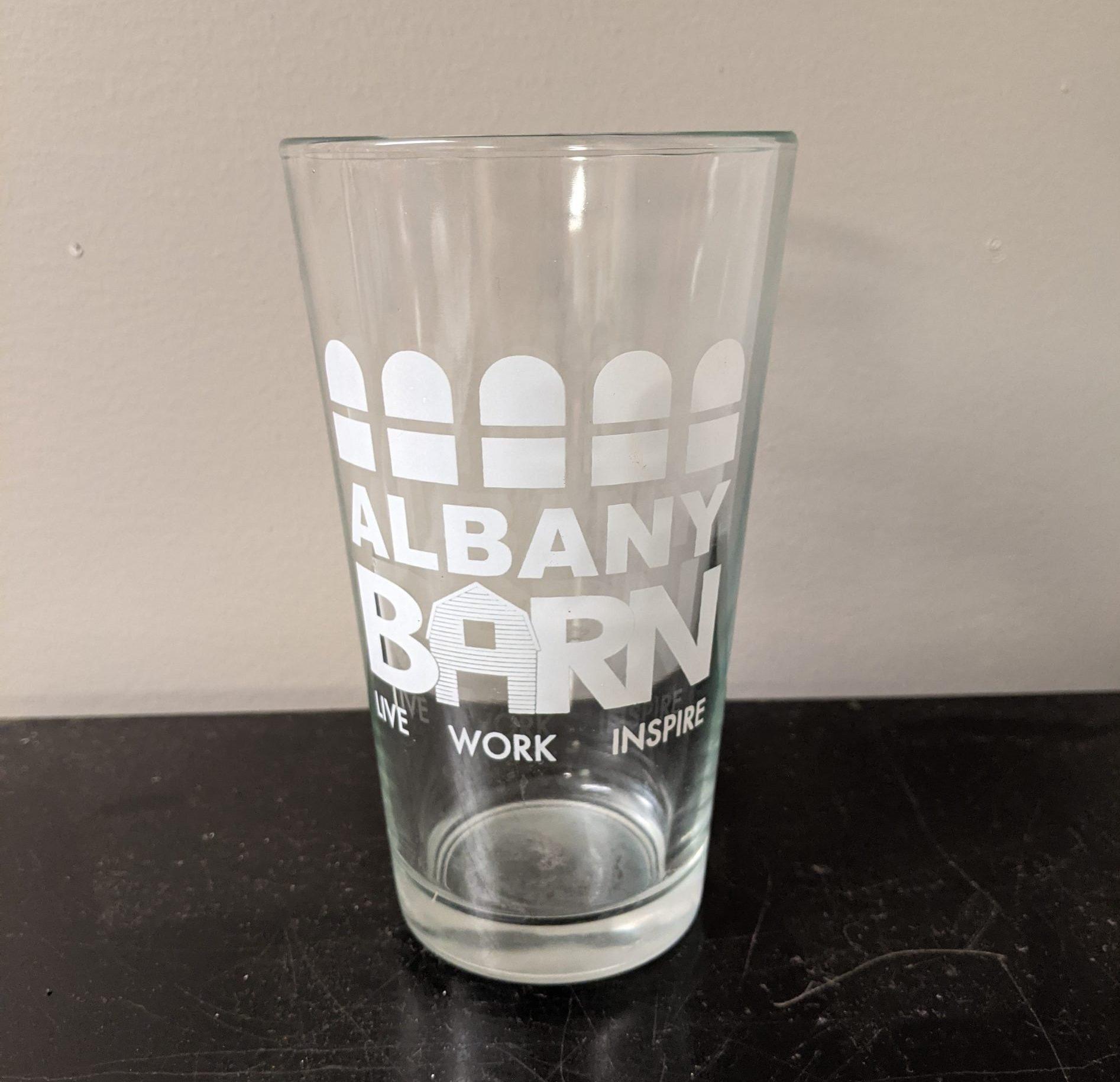 Albany Barn White Branded Pint Glass