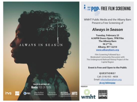 Free film screening: Always in Season (w/ WMHT) @ Albany Barn