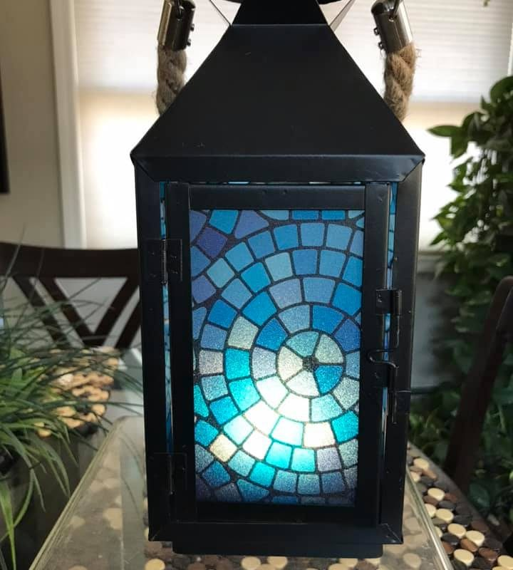 Blue Lagoon-Medium Black Metal Lantern By Margaret Motta