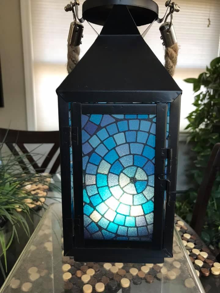 Blue Lagoon-Medium Black Metal Lantern By Margaret Motta