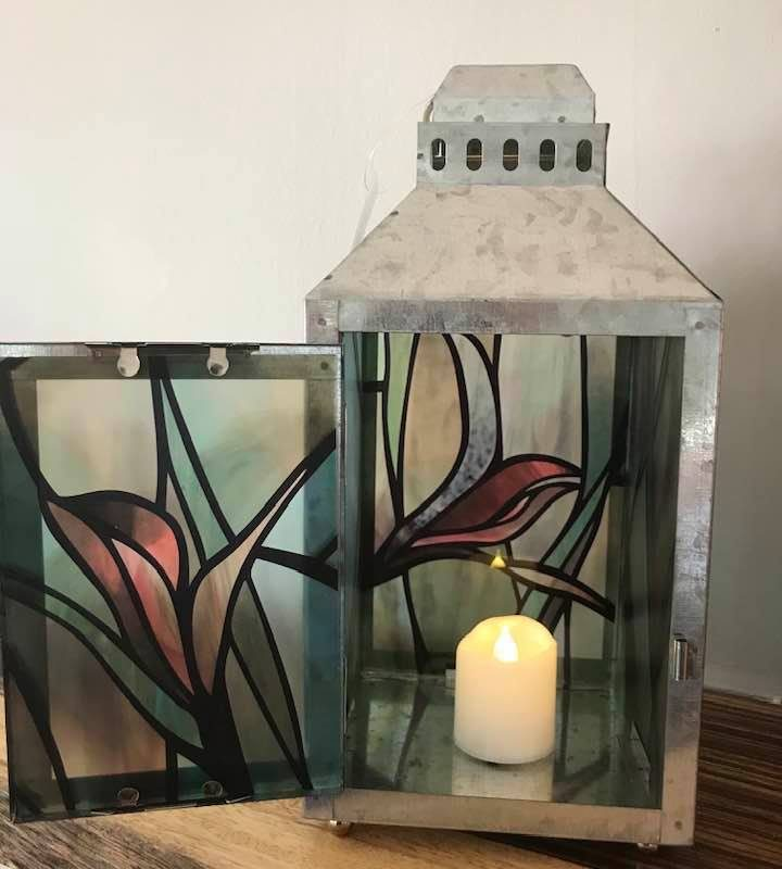 Irises-Large Silver Metal Lantern By Margaret Motta