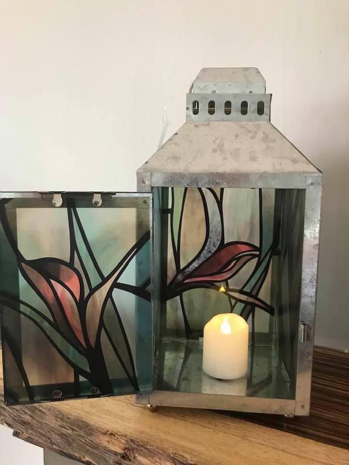 Irises-Large Silver Metal Lantern By Margaret Motta
