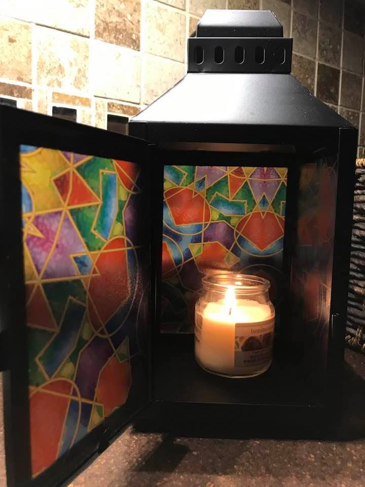 Multicolor Modern Mosaic-Medium Black Metal Lantern By Margaret Motta