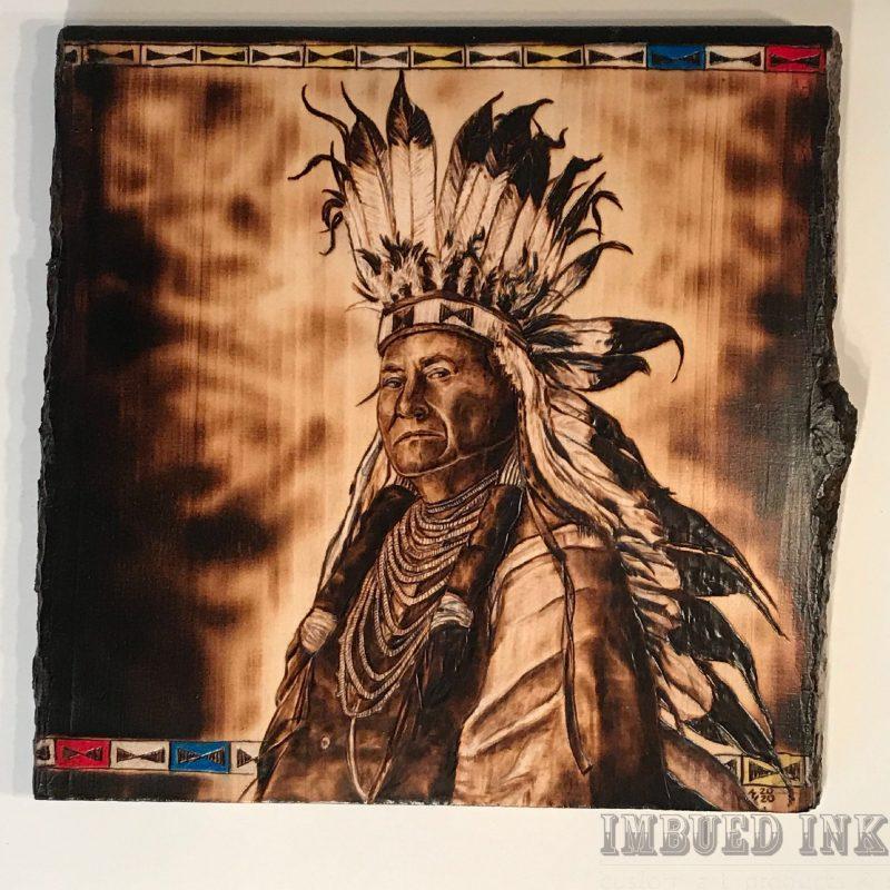 Native American In Headdress By Kelsi Lytle